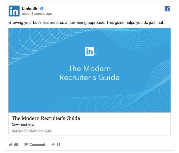 One version of the ad on LinkedIn